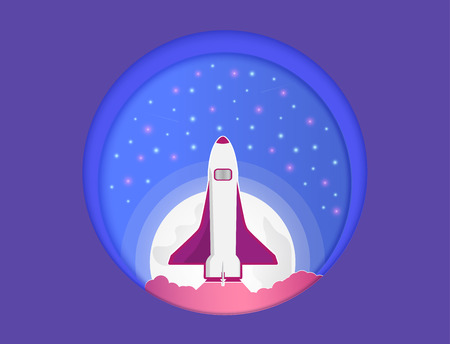Vector Paper Cut and the universe, and there were rockets that soar up.Vector Paper Cut and the universe, and there were rockets that soar. And beautiful colorful trend and the stars and the moon, and can be used as an icon or background.