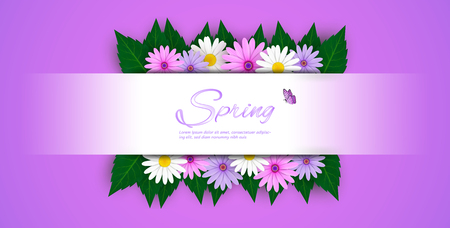 Spring Sale Banner background with beautiful colorful flowers are blooming.And use it as a banner or placard.And is used as an illustration or backdrop. -vector Illustration