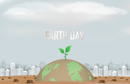 concept of the campaign and help maintain our world and planting trees for a bright future.And represents the results from a natural disaster that we destroy forests.And the illustration or used as a background - vector.