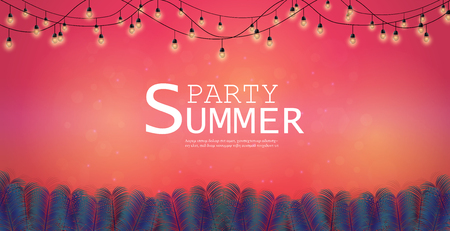 Vector Background and Summer Nights Party Flyer Design. And music festivals and celebrations and parties. and Can be used as an illustration or as a backdrop Illustration