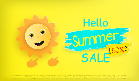 Hello summer festivals and a cartoon sun is smiling. And held banner to welcome the upcoming summer. and colorful design and a work of origami or paper cut.