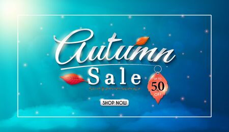 Autumn sales banner design with colorful seasonal fall leaves.and concept autumn advertising.and for shopping discount promotion.and frame leaflet or web banner.and used as illustration or background. Archivio Fotografico - 129828226