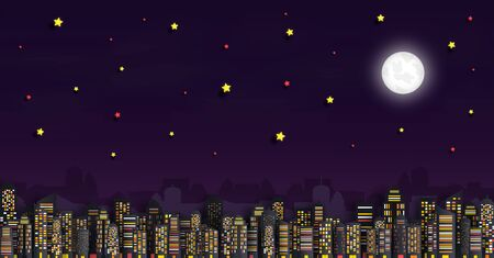 Vector paper cut. and the panorama view. and a house or village.and Cityscape with Group of Skyscrapers in the night. and Template for tourism and Journey. And origami style design. and an background. Illustration