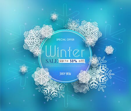 Winter sales banner design.with a seasonal cold weather. and white snowflakes. and for shopping discount promotion.and frame leaflet or web banner.and used as illustration or background. Ilustracja