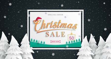 Christmas sales banner design.with cold weather in the winter season.and and party at night.and for shopping discount promotion and sales for black friday. and web banner.and used as illustration or background.