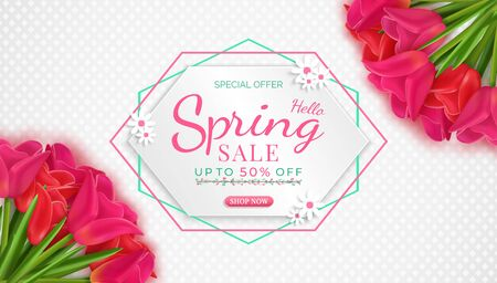 flowers bloom in the seasonal spring. and there are beautiful tulip flowers.and for shopping discount promotion.and with seasonal deals.and green natural background.and used as an illustration.
