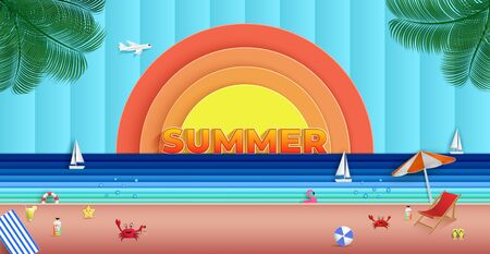 Panoramic sea view in the summer. and natural beautiful. and to travel for vacation. and there is a sailboat that was sailing on the sea. and as the origami or paper cut and used as background.