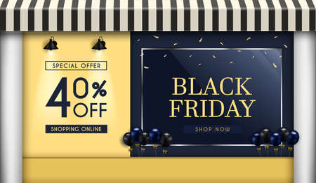 Black Friday Sale of posters or flyers design.and Shop front.and there is a glass cabinet for displaying products. and use it as a festival background or online shopping invitation.