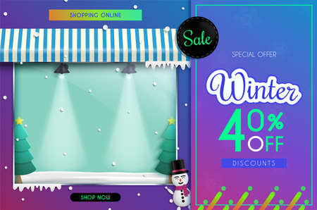 Winter Sale of posters or flyers design.and Shop front.and there is a glass cabinet for displaying products. and use it as a festival background or online shopping invitation.