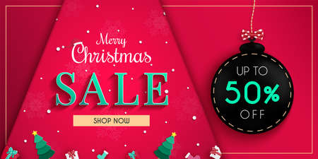 Christmas sales banner design.with cold weather in the winter season. and white snowflakes. and for online shopping discount promotion.and web banner.and used as illustration or background.