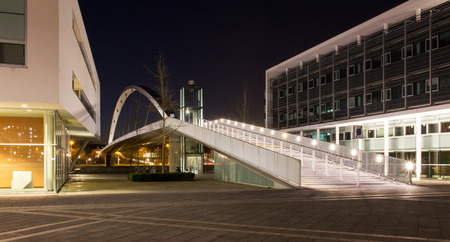 nightvision: footbridge over the Muese in Maastricht, Netherlands Stock Photo