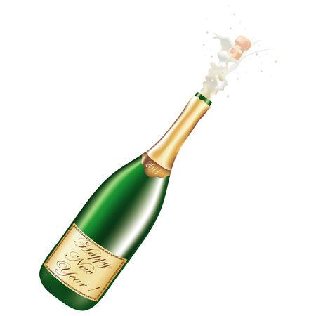 corcho: Ilustración con botella de año nuevo