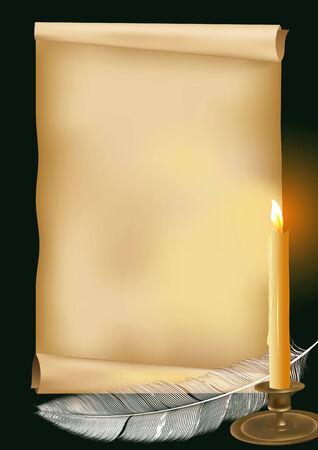 parchemin:   illustration avec bougie, de plumes et de vieux papiers