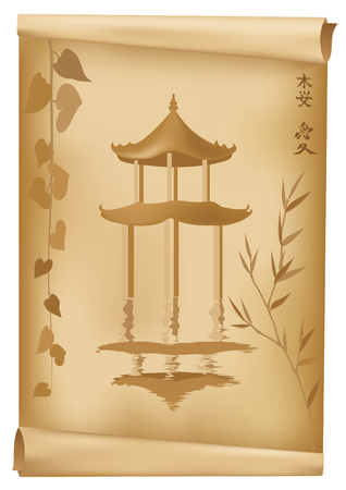 Japanese illustration with old paper and pagoda Vector