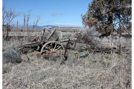 Constoga Wagon Near Kelly Cemetary Maupin, Oregon Stock Photo - 4544611
