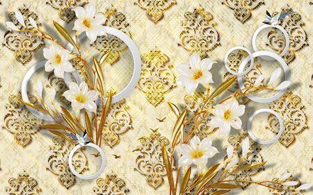 Goldene Blumen 3D auf traditionellem goldenem Damasttapetenhintergrund.