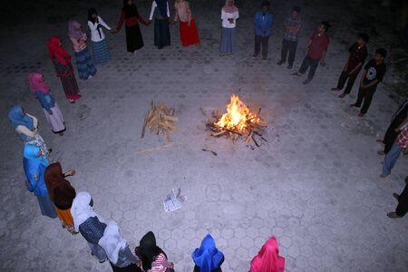 circling: circling bonfire Stock Photo