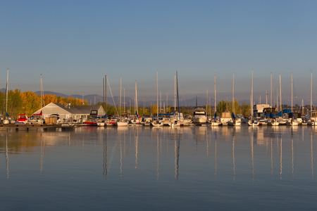 Chatfield marina in Chatfield State Park at sunrise photo