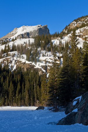 rocky mountain: Hallet Peak in Rocky Mountain National Park in the Winter Stock Photo