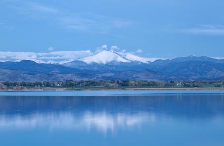 longs peak: Blue hour on Mt. Meeker and Longs Peak at McIntosh Lake in Longmont, Colorado