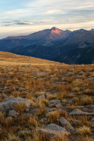longs peak: The last light of the day hits the summit of Longs Peak in Rocky Mountain National park in Colorado