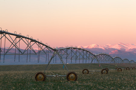 pivot: Pivot Irrigation System with the Colorado Mountain Range in background at sunrise
