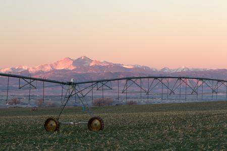 longs peak: Longs Peak and a Pivot Irrigation System along the plains of Colorado