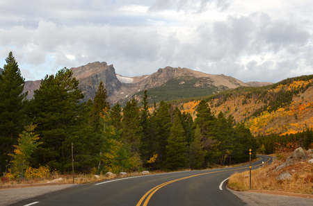bear lake: The road leading to Bear Lake in Rocky Mountain National Park outside of Estes Colorado