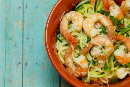 spiralized: Low carb, high fat meal consisting of shrimp and zucchini and coconut oil