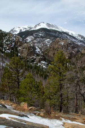 rocky mountain national park: Stones Peak above the treeline on a hiking trail in Rocky Mountain national Park