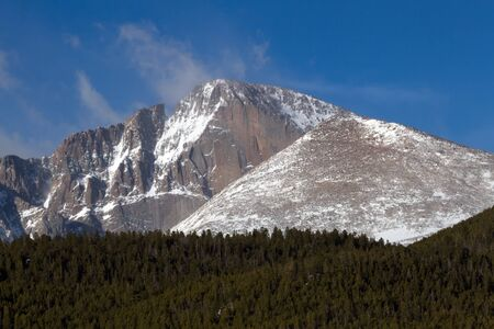 longs peak: A popular hiking destination is the summit of Longs Peak in Rocky Mountain National Park