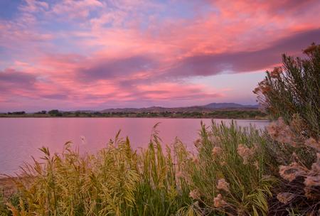 Beautiful sunrise on a Colorado Lake Stock Photo
