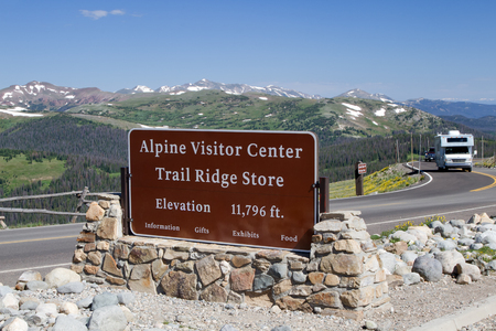 rocky mountain: The Alpine Visitor center sits at the top of Trail Ridge Road in Rocky Mountain National Park at an elevation of 11,796 feet above sea level