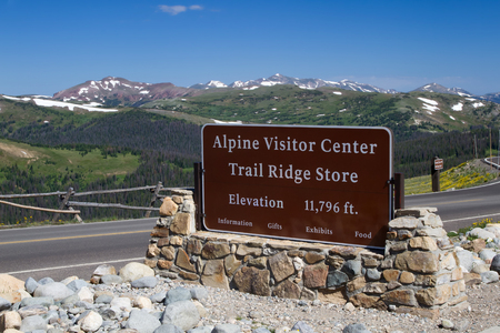 rocky mountain national park: The Alpine Visitor center sits at the top of Trail Ridge Road in Rocky Mountain National Park at an elevation of 11,796 feet above sea level