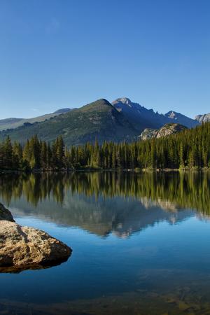 bear lake: Longs Peak in Rocky Mountain National Park reflects into Bear Lake on a summer day