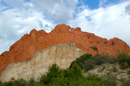 gods: Garden of the Gods Kissing Camels with Cloudy skies