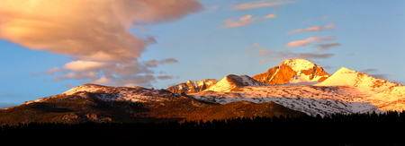 longs peak: Panorama View of Longs Peak at sunrise with pink clouds forming over the summit