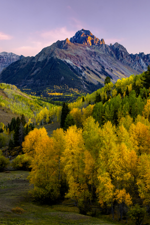 Sunset Alpine Glow on Mt Wilson with Golden Aspen in the Valley Фото со стока - 115104153
