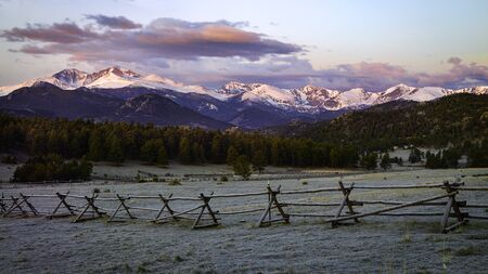 Panorama View of Longs Peak and Mountain Range from outside of Rocky Mountain National Park in Estes Park Colorado