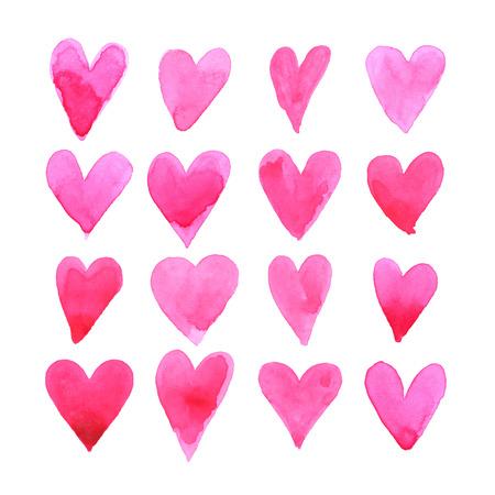 corazon en la mano: Conjunto de corazones de la acuarela. Tarjeta del amor con los corazones rojos de la acuarela.