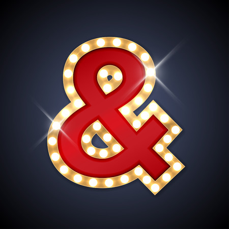 ampersand: illustration of realistic retro signboard Ampersand symbol, And sign.