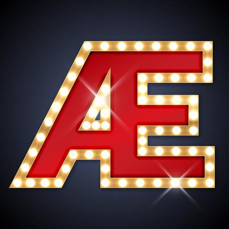 ligature: illustration of realistic retro signboard letter AE ligature AE.