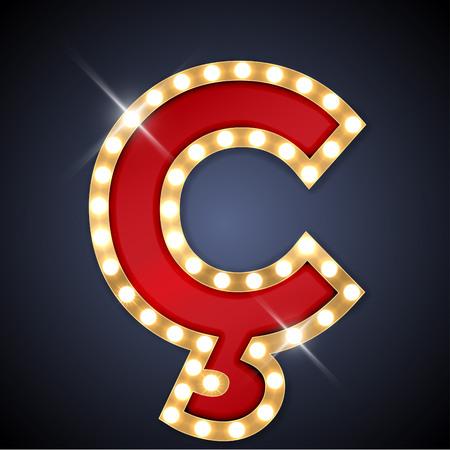 letreros: ilustración de realista retro letrero C C-cedilla.