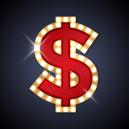 theater sign: illustration of realistic retro signboard Dollar sign.