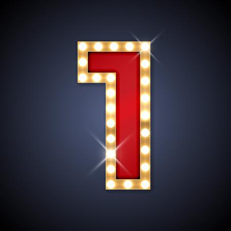 lampada: illustrazione del numero realistico retro cartello 1 uno. Vettoriali