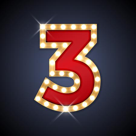 nombres: illustration de nombre rétro enseigne réaliste 3 trois.