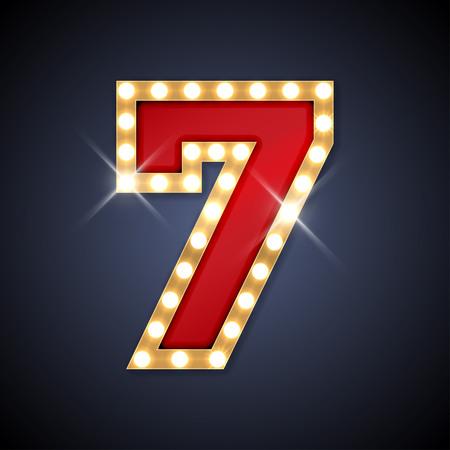 사실적인 복고풍 간판 번호 7 7의 그림입니다. 특수 문자를 포함하여 유럽의 알파벳의 일부입니다. 일러스트