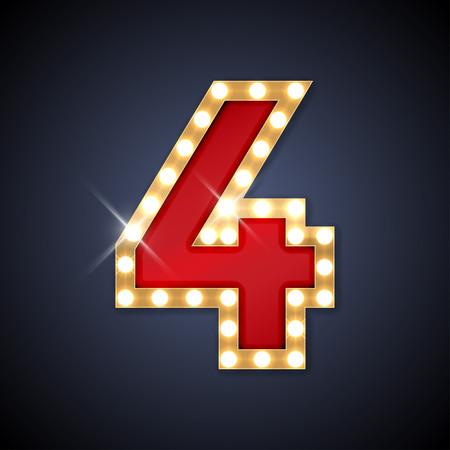 les chiffres: illustration de nombre rétro enseigne réaliste 4 quatre. Illustration