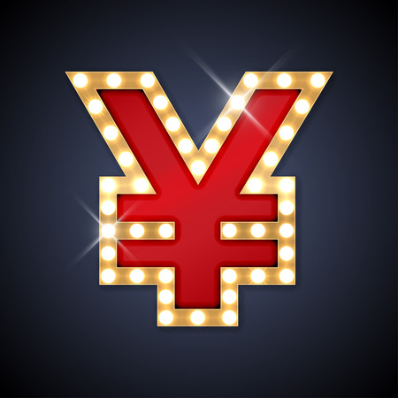 currency glitter: illustration of realistic retro signboard sign Yen yuan.
