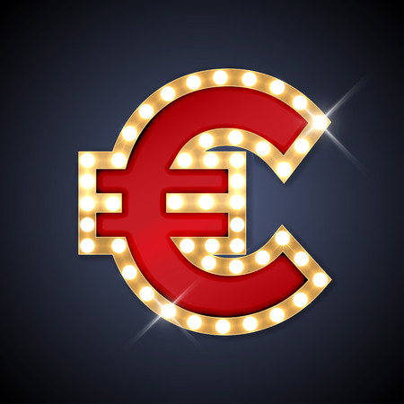 currency glitter: Vector illustration of realistic retro signboard sign Euro. Part of alphabet including special European letters.